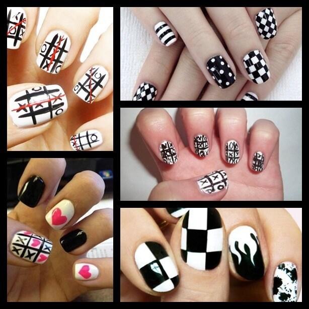 nail art black and white-1