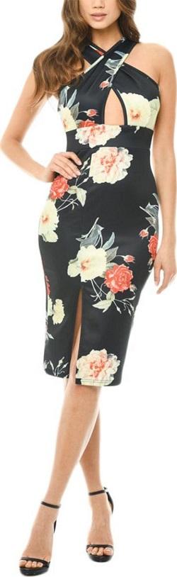 Μίντι φόρεμα αμάνικο με σταυρωτό μπούστο