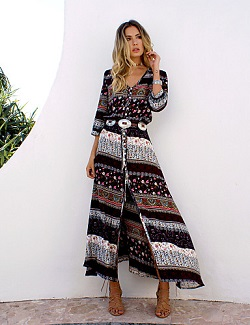 Γυναικείο boho βαμβακερό φόρεμα