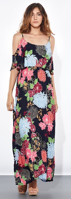 Floral maxi φόρεμα από βισκόζη με ανοιχτούς ώμους
