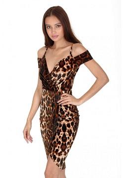 sexy wrap velvet φόρεμα animal print