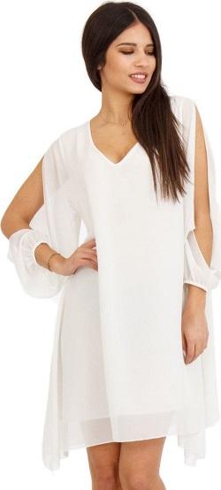 Λευκό Ασύμμετρο Mini Φόρεμα