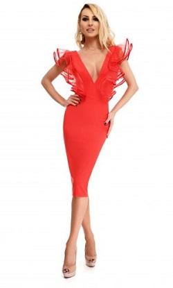 Θηλυκό μίντι φόρεμα με ντεκολτέ και βολάν οργαντίνας Κόκκινο