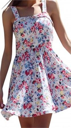 Μίνι φλοράλ φόρεμα κλος Άσπρο