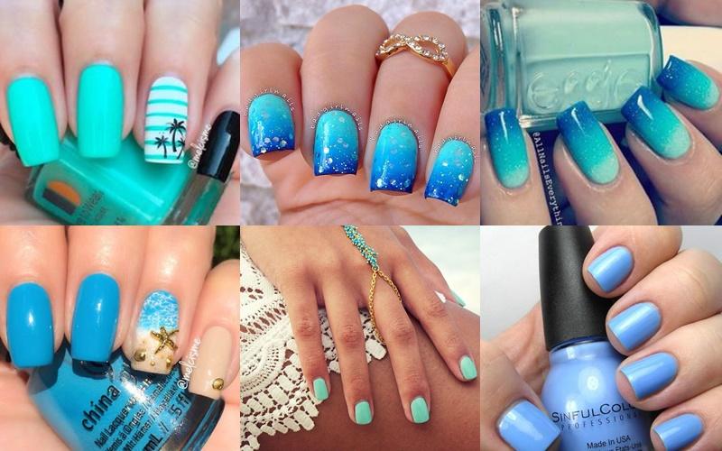 Μπλε καλοκαιρινά χρώματα νυχιών