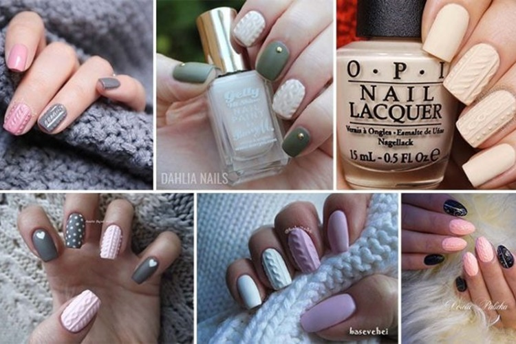 Πλεκτά νύχια: 30 ανάγλυφα χειμωνιάτικα σχέδια που θυμίζουν πουλόβερ