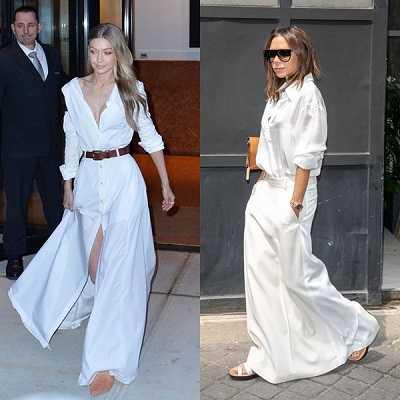 Λευκό πουκάμισο συνδυασμένο με φαρδιά φούστα