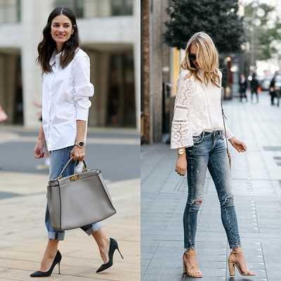 Λευκό πουκάμισο συνδυασμένο με τζινπαντελόνι