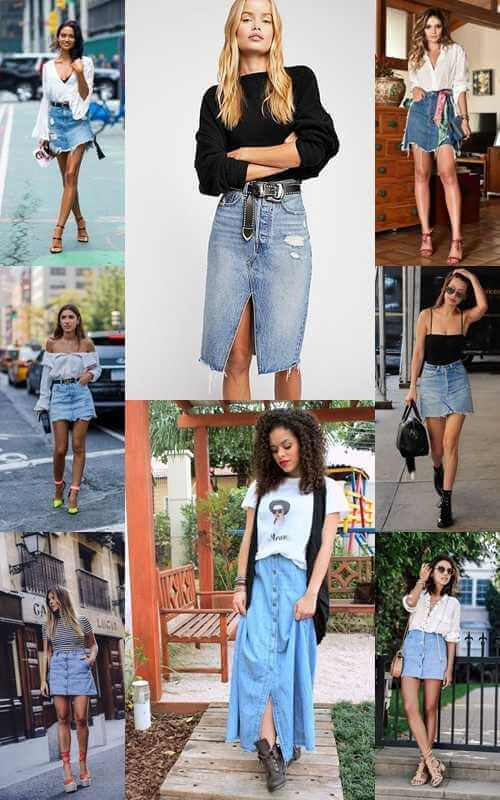 8 outfit με jeans φούστες