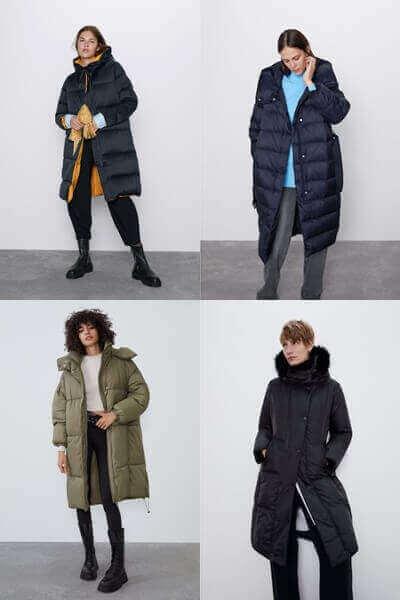 Μακρυά φουσκωτά μπουφάν Zara
