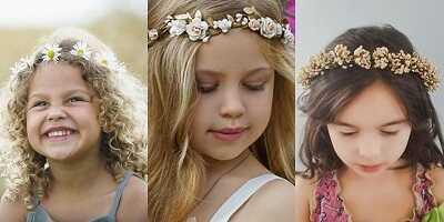 Παιδικό χτένισμα στεφάνι με λουλούδια στα μαλλιά