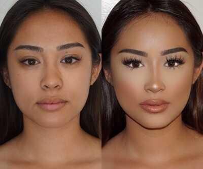 2.Κόλπο μακιγιάζ για να διορθώσει την εικόνα της μύτης