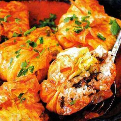 Νηστίσιμα ντολμαδάκια λάχανου με ρύζι & μανιτάρια